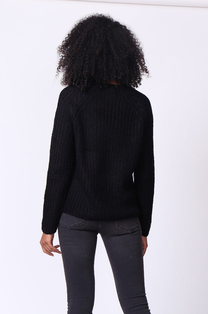 SF0235-BLACK CHUNKY CABLE KNIT JUMPER view 3