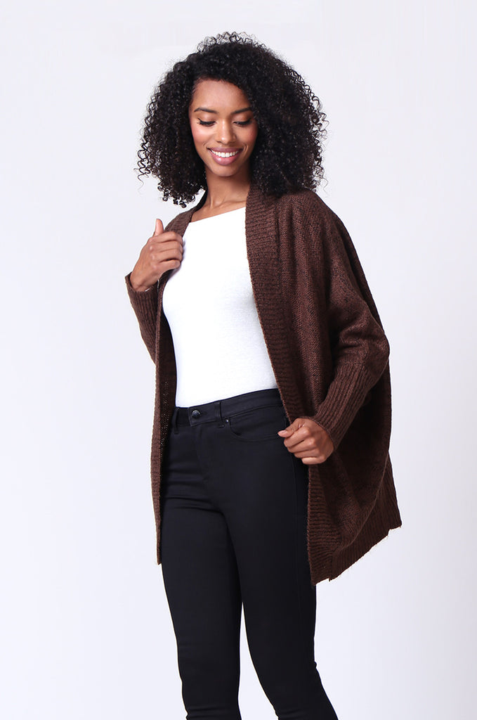 SF0236-BROWN CABLE KNIT BATWING CARDIGAN view 2