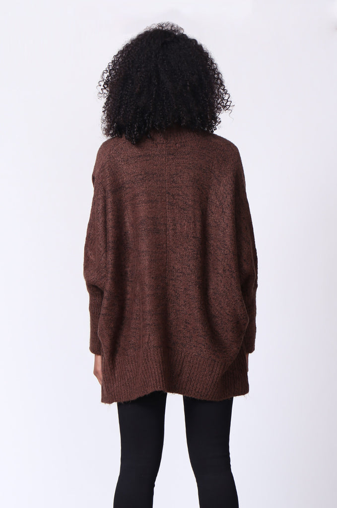 SF0236-BROWN CABLE KNIT BATWING CARDIGAN view 3