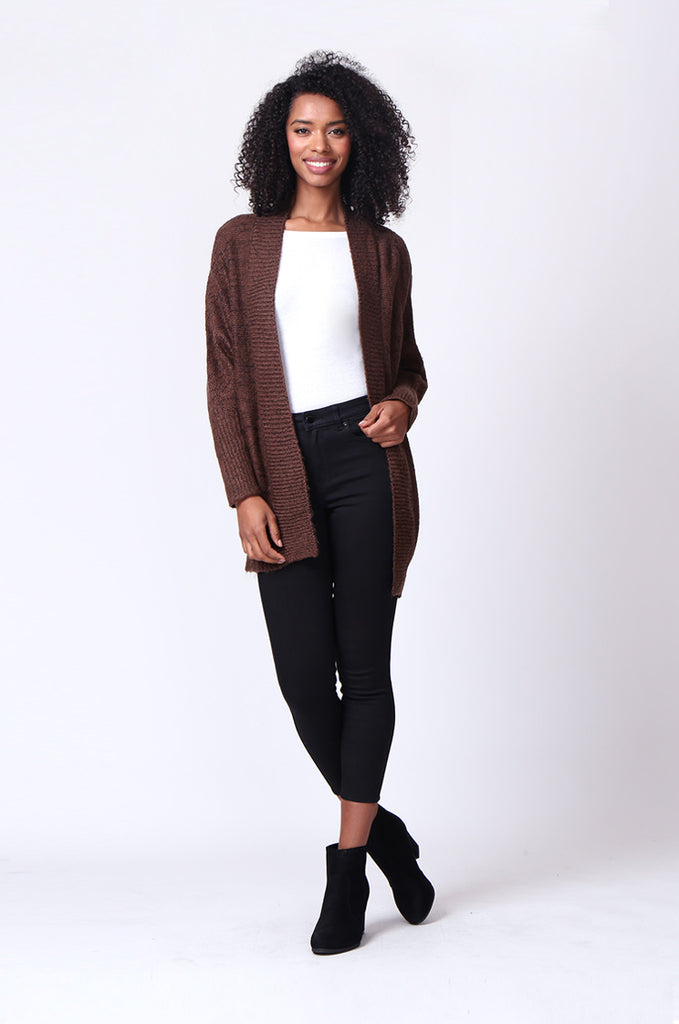SF0236-BROWN CABLE KNIT BATWING CARDIGAN view 4