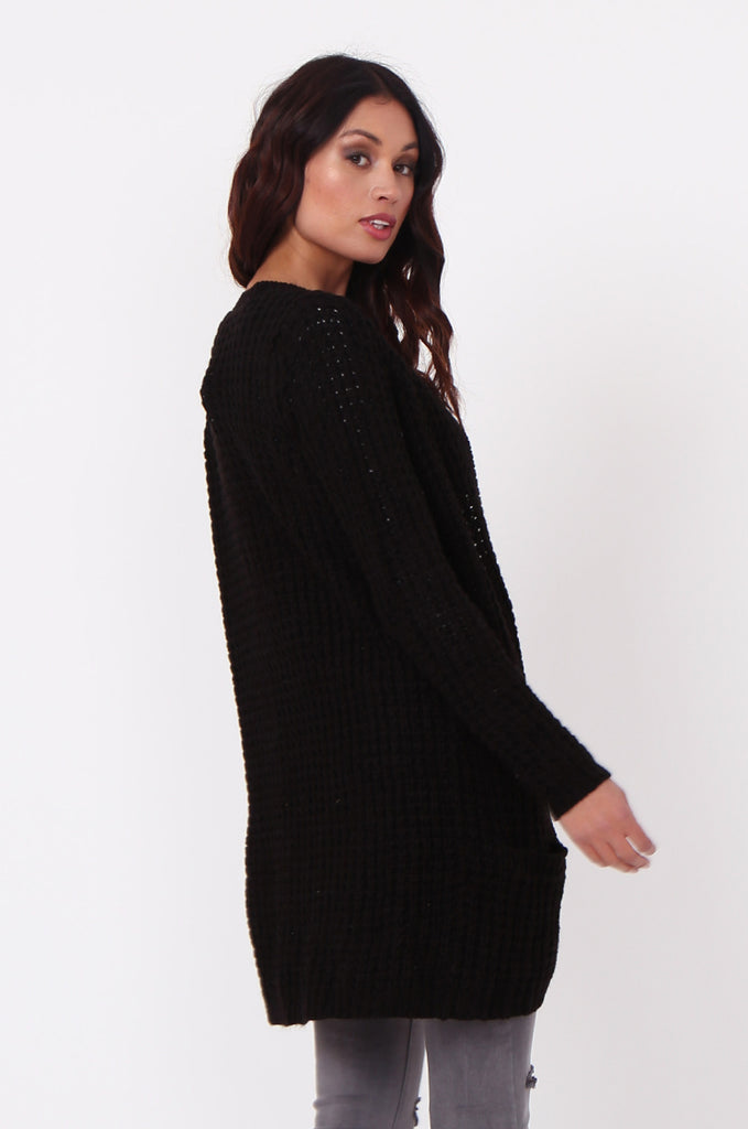 SF0286-BLACK CHUNKY WAFFLE KNIT CARDIGAN view 3