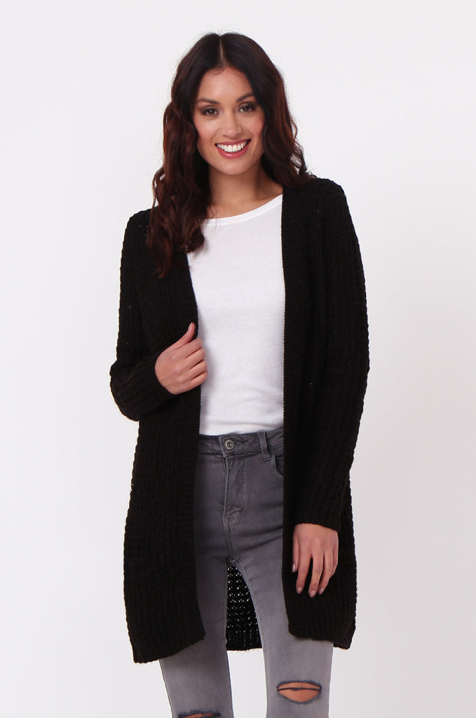 SF0286-BLACK CHUNKY WAFFLE KNIT CARDIGAN view 2