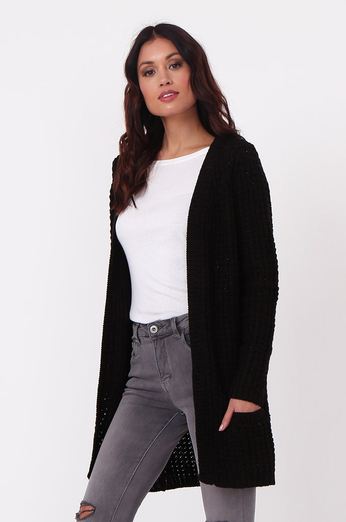 SF0286-BLACK CHUNKY WAFFLE KNIT CARDIGAN view main view