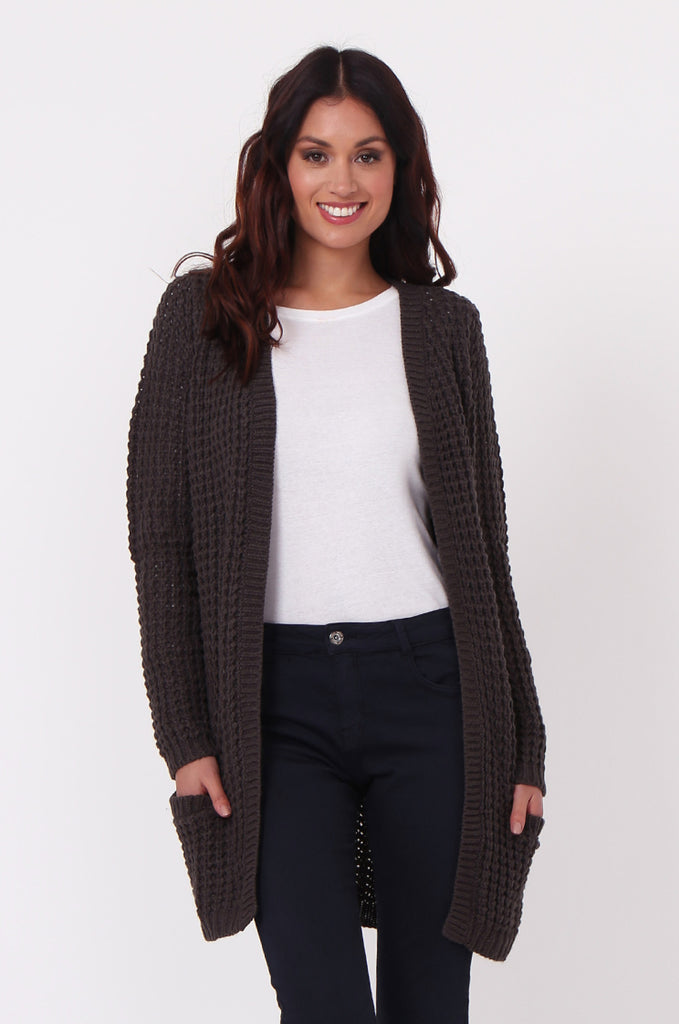 SF0286-GREY CHUNKY WAFFLE KNIT CARDIGAN view main view