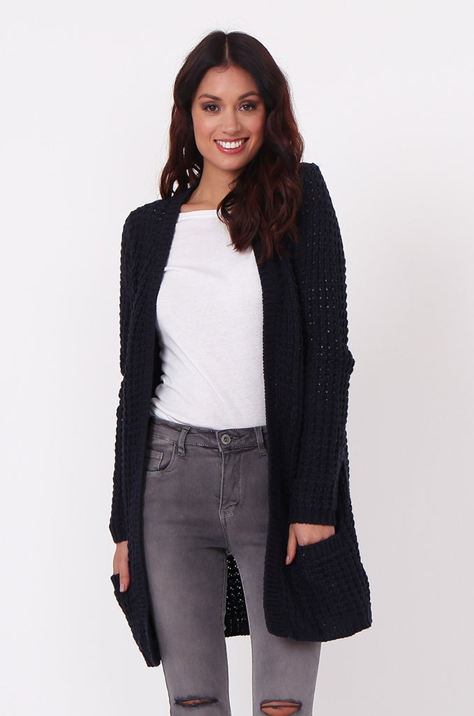 SF0286-NAVY CHUNKY WAFFLE KNIT CARDIGAN view main view