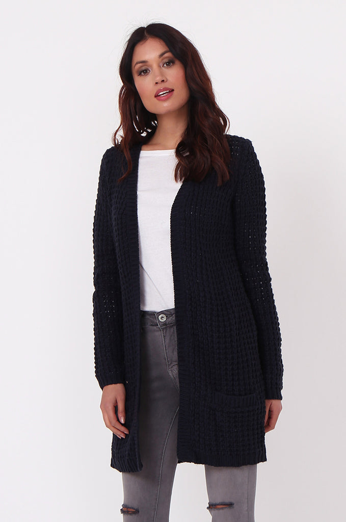 SF0286-NAVY CHUNKY WAFFLE KNIT CARDIGAN view 3