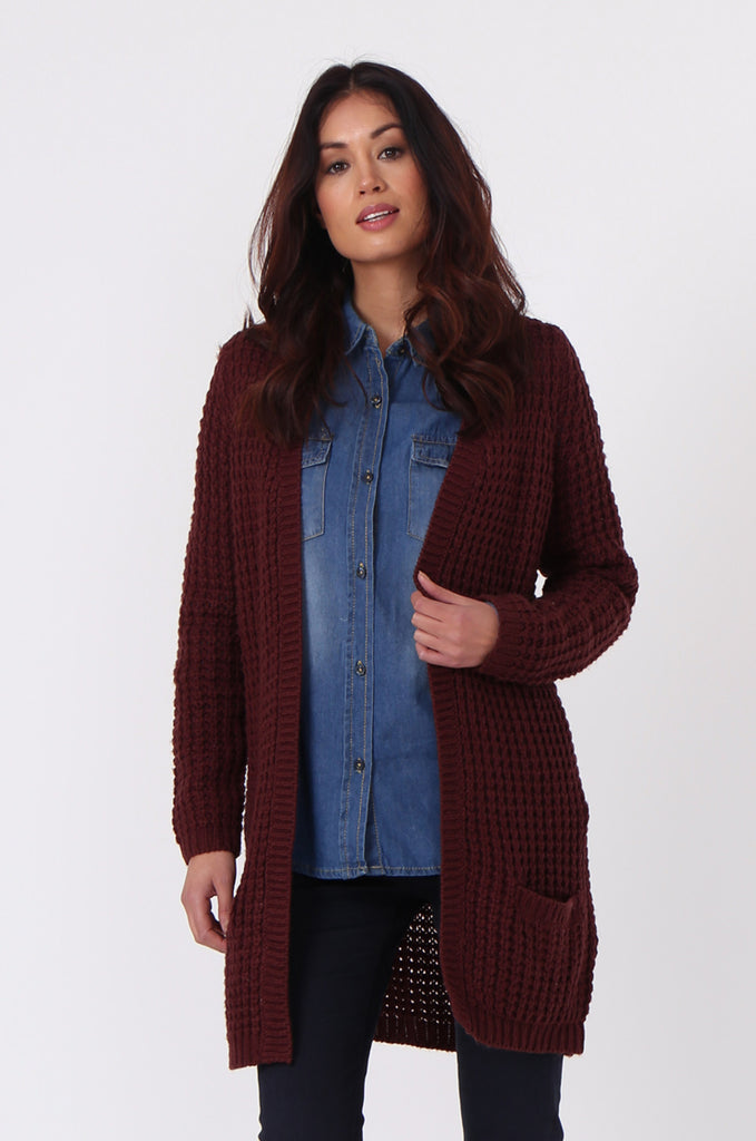 SF0286-WINE CHUNKY WAFFLE KNIT CARDIGAN view main view