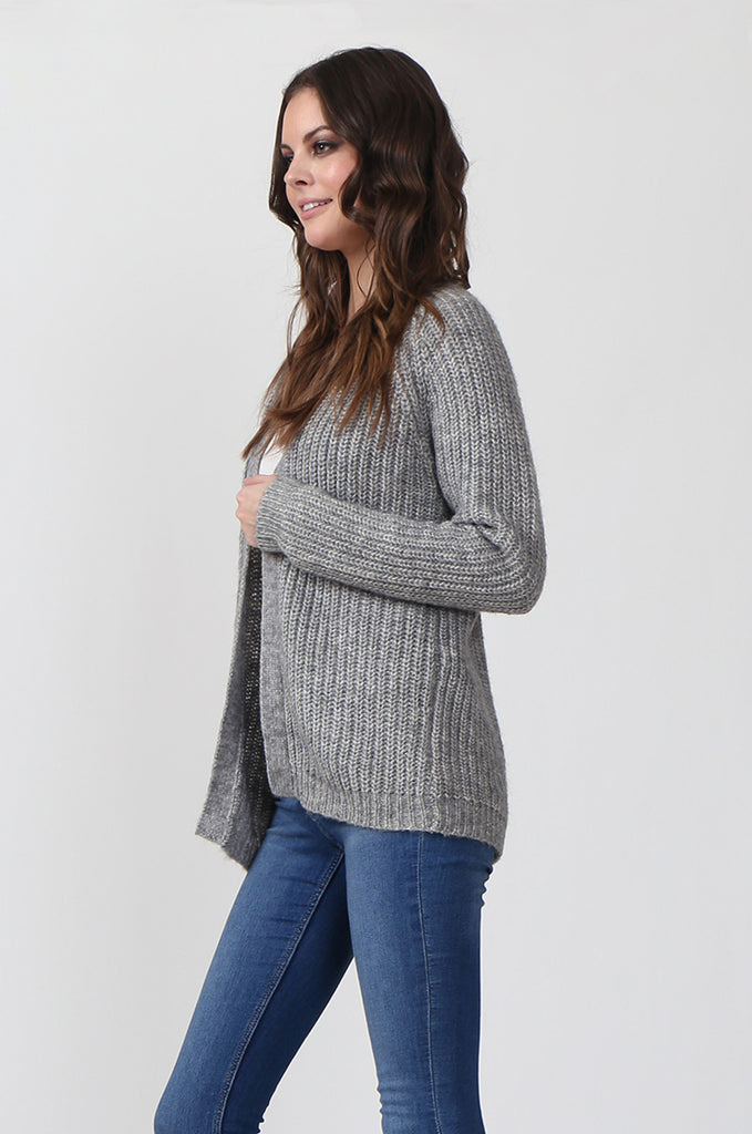 SF0287-GREY CHUNKY RIB CARDIGAN view 2