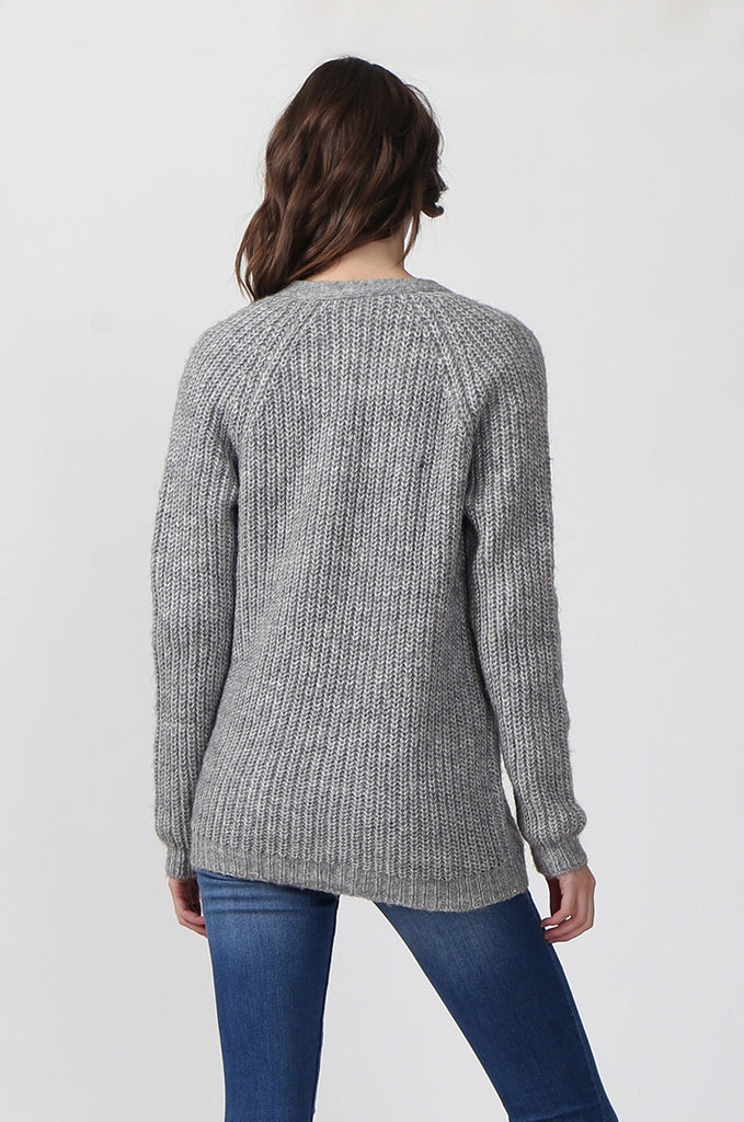 SF0287-GREY CHUNKY RIB CARDIGAN view 3