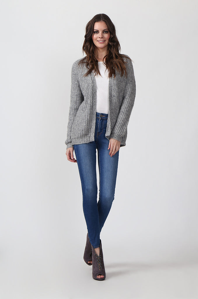 SF0287-GREY CHUNKY RIB CARDIGAN view 4