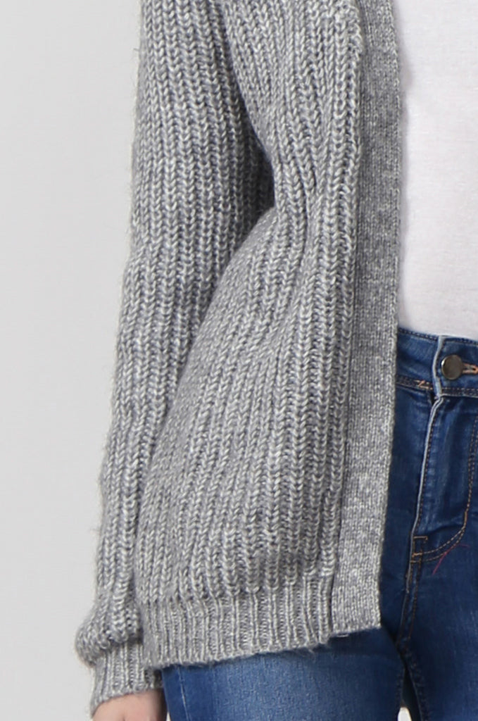 SF0287-GREY CHUNKY RIB CARDIGAN view 5