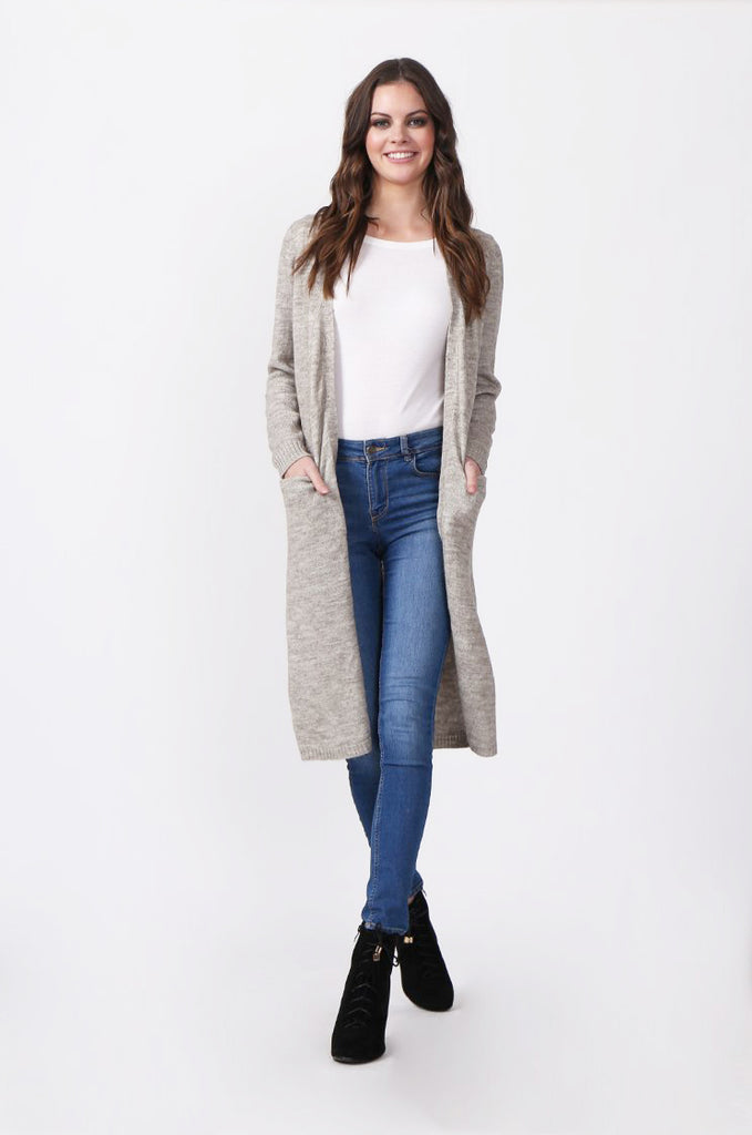 SF0288-STONE LONGLINE POCKET CARDIGAN