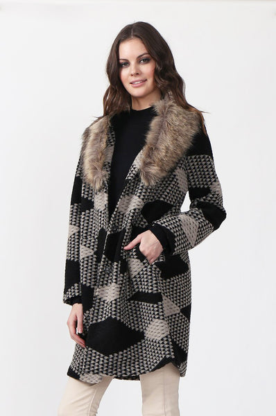 FAUX FUR SHAWL COLLAR COAT