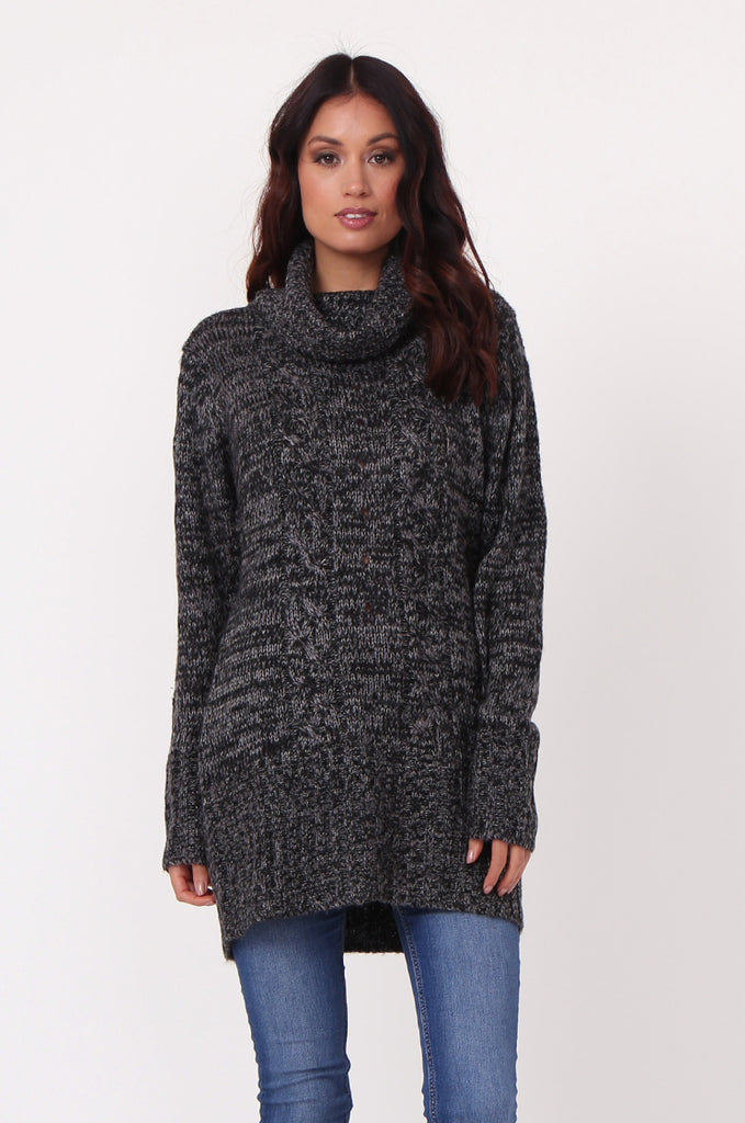 SF0426-BLACK TWEED COWL NECK JUMPER view 2