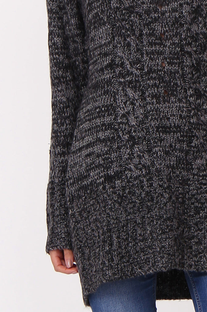 SF0426-BLACK TWEED COWL NECK JUMPER view 5