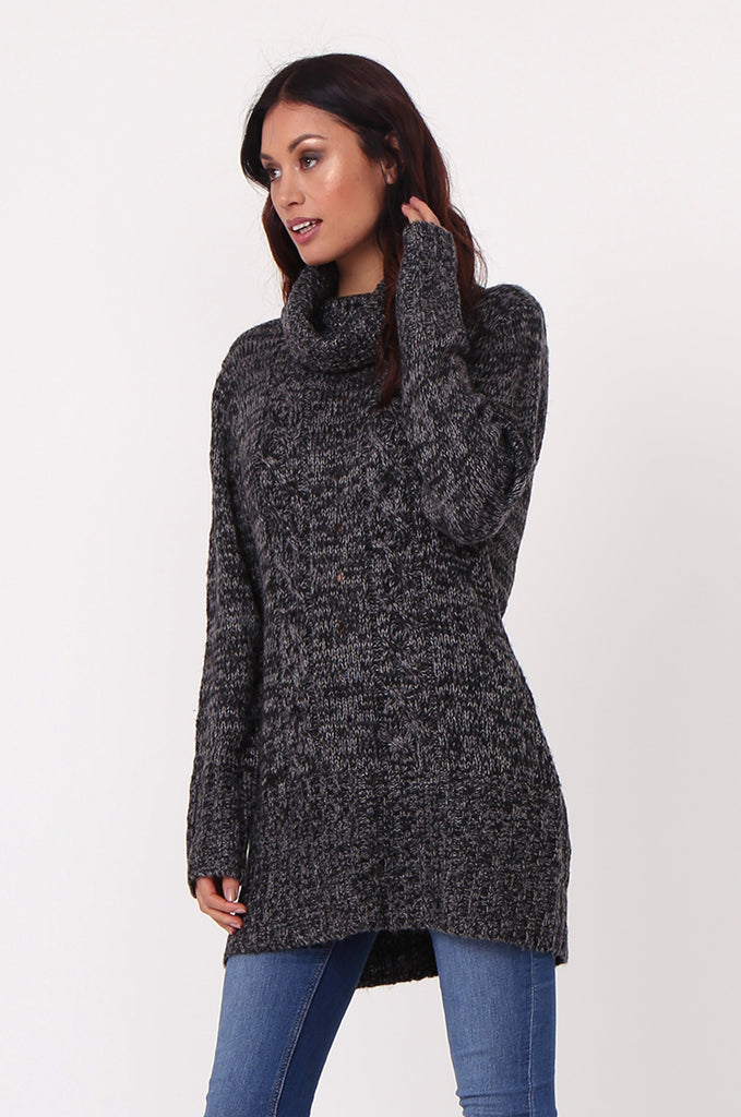 SF0426-BLACK TWEED COWL NECK JUMPER