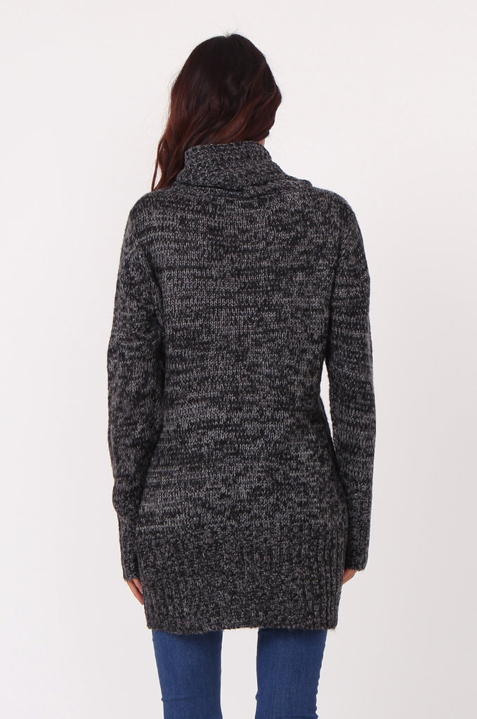 SF0426-BLACK TWEED COWL NECK JUMPER view 3