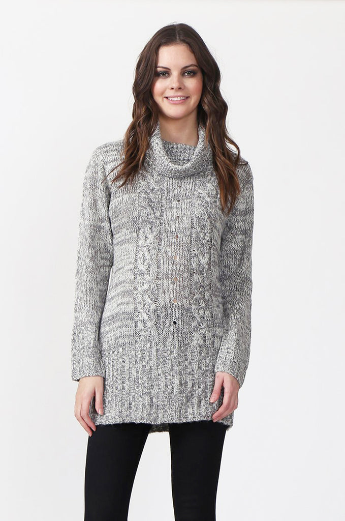 SF0426-GREY TWEED COWL NECK JUMPER