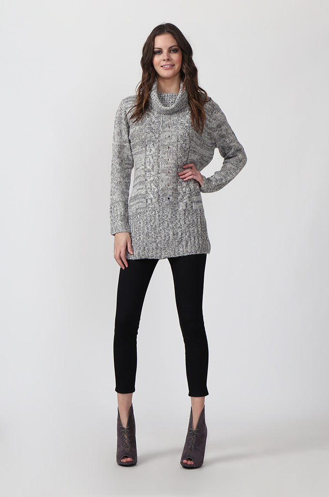 SF0426-GREY TWEED COWL NECK JUMPER view 4