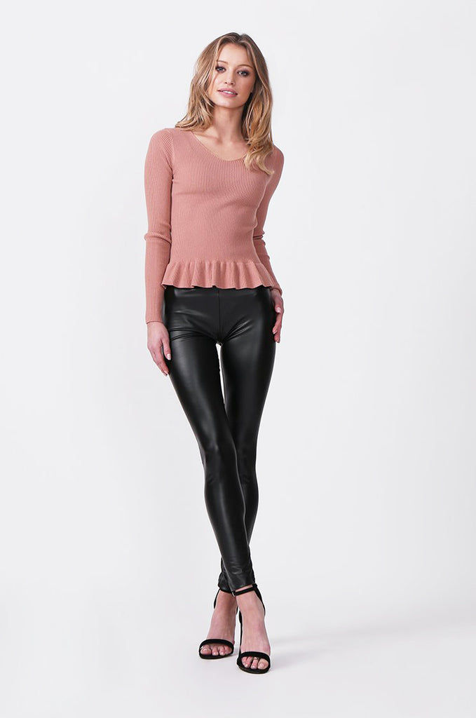 SF0427-BLACK FAUX LEATHER LEGGINGS