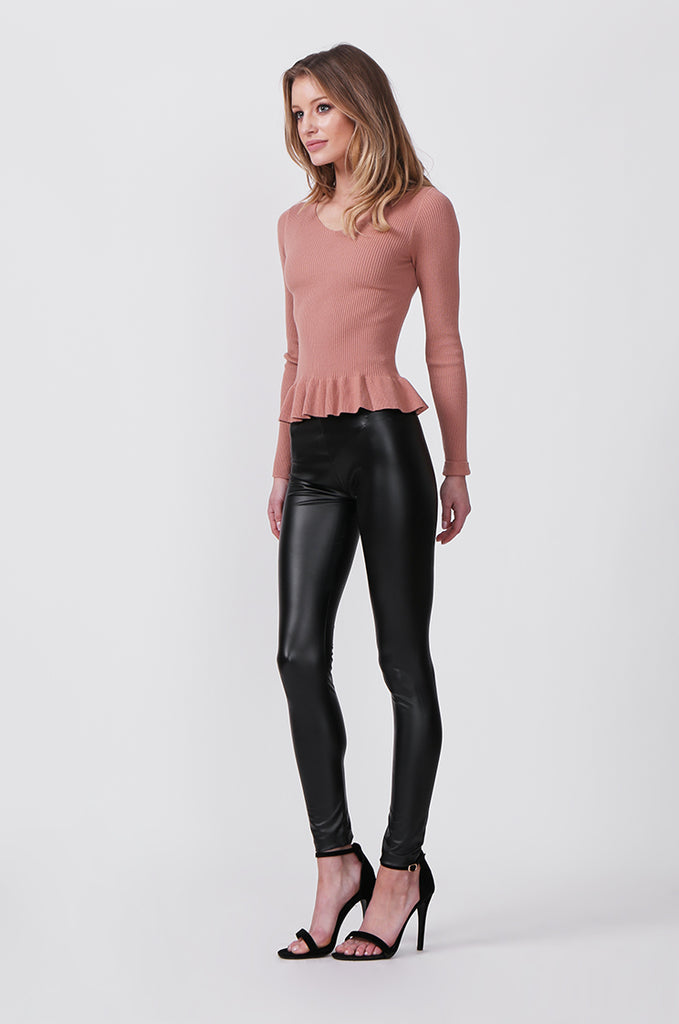 SF0427-BLACK FAUX LEATHER LEGGINGS view 2