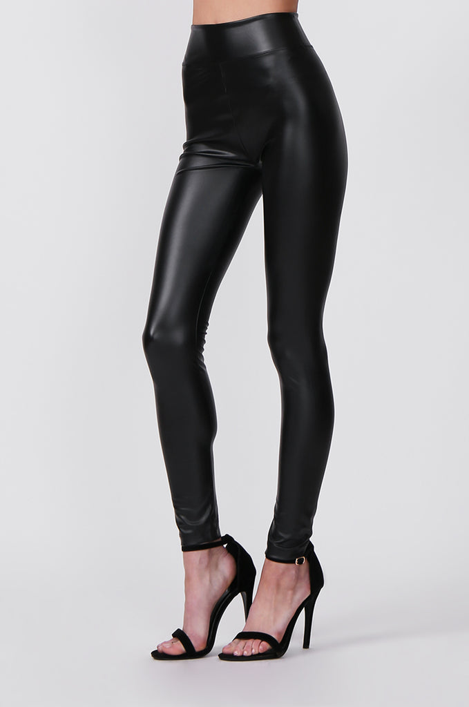 SF0427-BLACK FAUX LEATHER LEGGINGS view 4