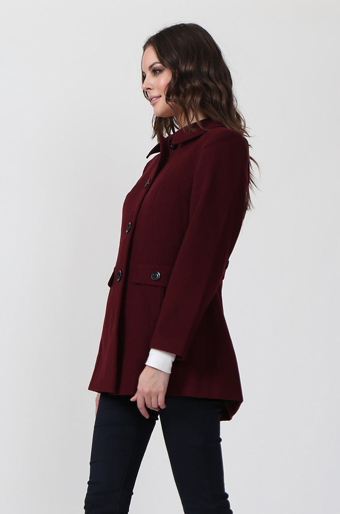 SF0432-WINE SINGLE BREASTED COAT view 2