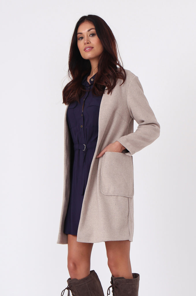 SF0435-CREAM PATCH POCKET STRAIGHT COAT view 2