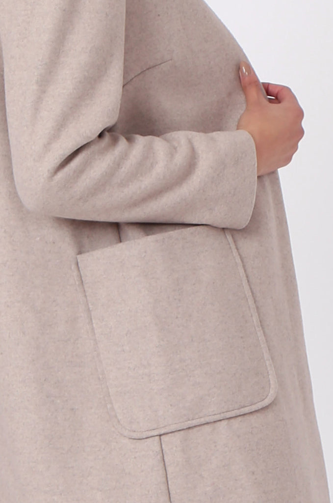 SF0435-CREAM PATCH POCKET STRAIGHT COAT view 5
