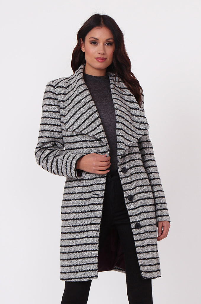 SF0436-GREY STRIPE BELTED COAT view main view