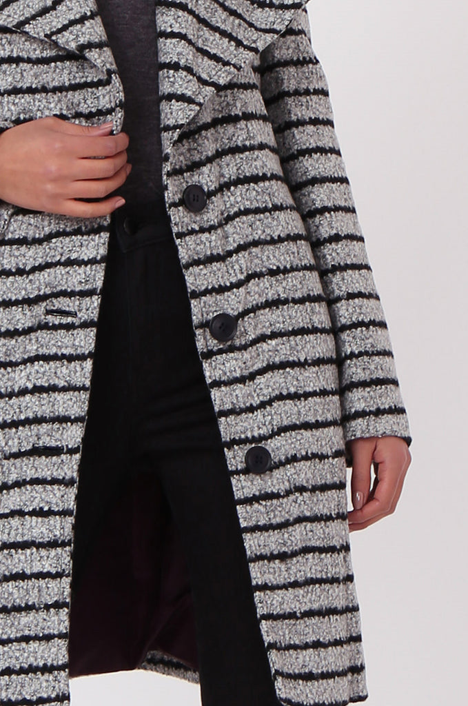 SF0436-GREY STRIPE BELTED COAT view 5