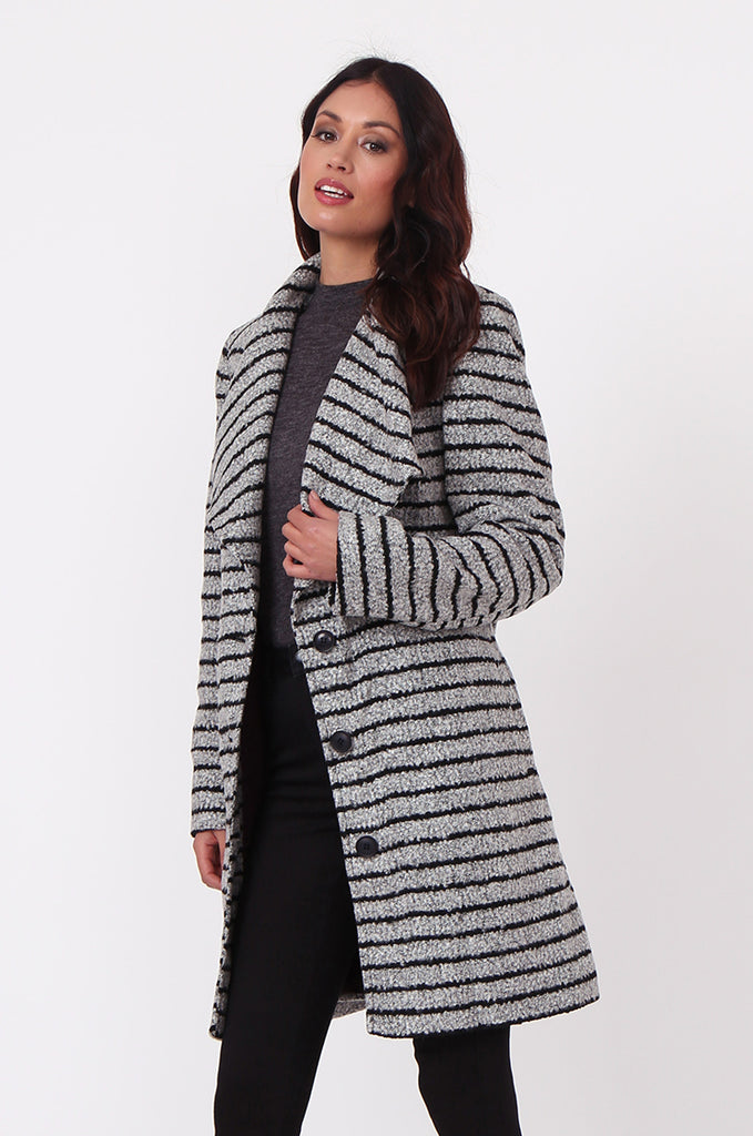 SF0436-GREY STRIPE BELTED COAT view 2