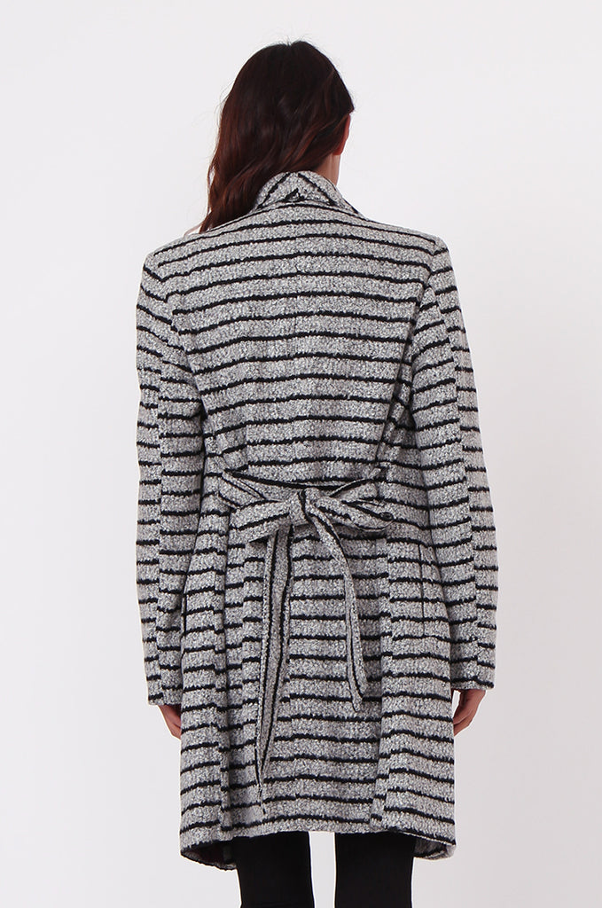 SF0436-GREY STRIPE BELTED COAT view 3
