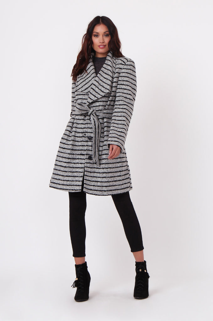 SF0436-GREY STRIPE BELTED COAT view 4
