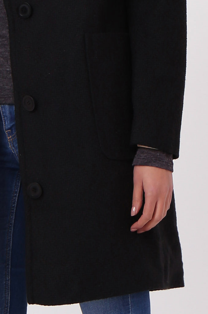 SF0438-BLACK SINGLE BREASTED POCKET COAT view 5