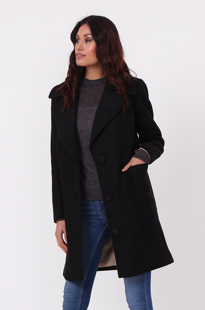 SF0438-BLACK SINGLE BREASTED POCKET COAT view 3
