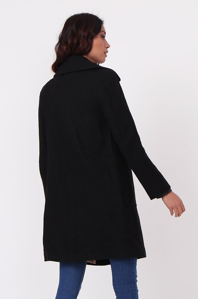 SF0438-BLACK SINGLE BREASTED POCKET COAT view 4