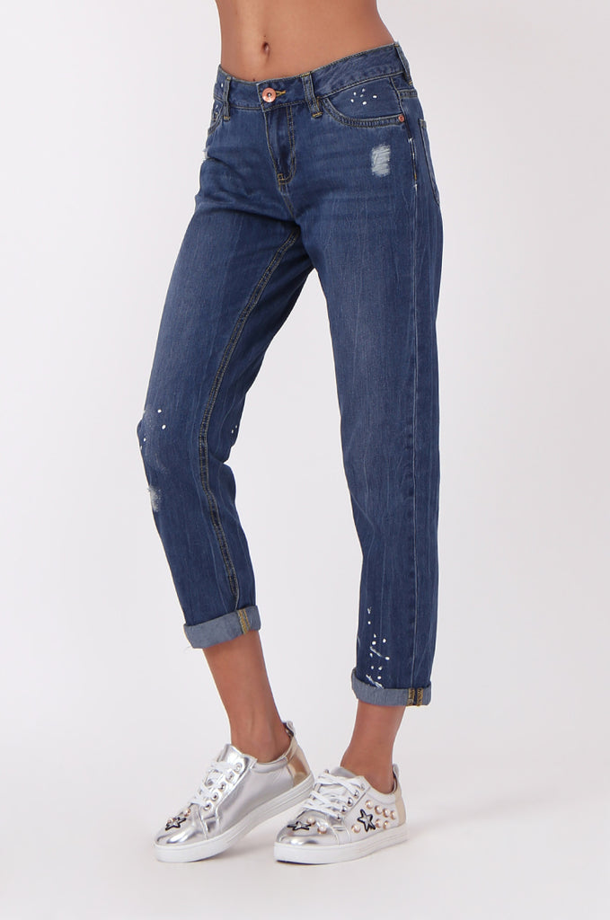 SF0439-BLUE DISTRESSED GIRLFRIEND JEANS view 4