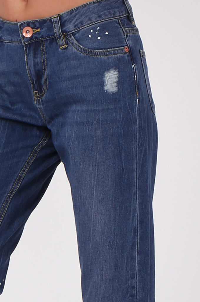 SF0439-BLUE DISTRESSED GIRLFRIEND JEANS view 5