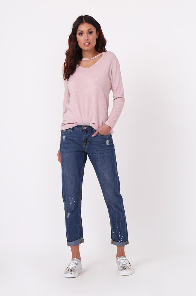 SF0439-BLUE DISTRESSED GIRLFRIEND JEANS