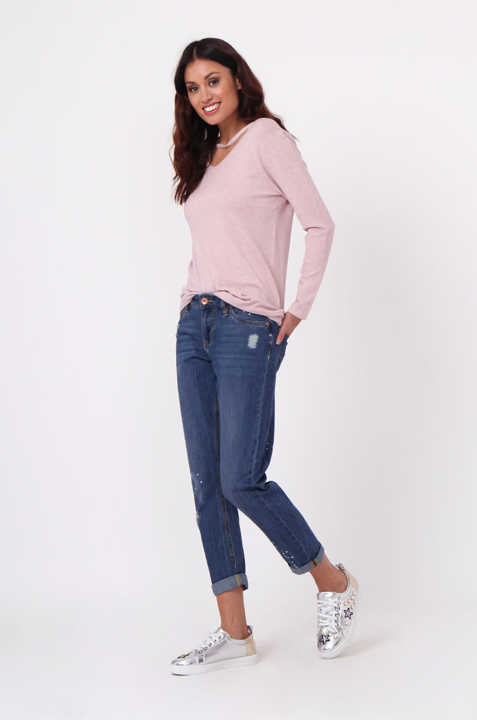 SF0439-BLUE DISTRESSED GIRLFRIEND JEANS view 2