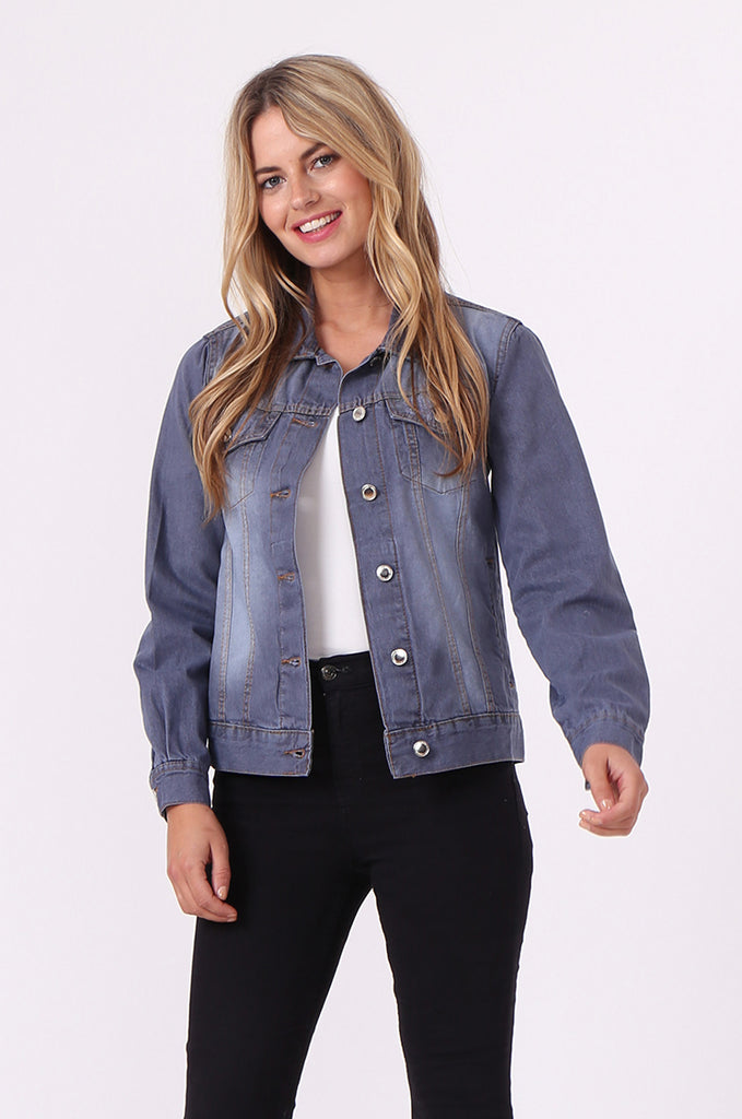 SF0446-GREY DENIM JACKET view main view