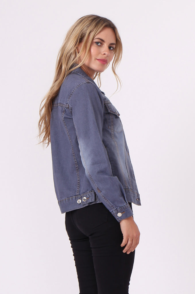 SF0446-GREY DENIM JACKET view 3