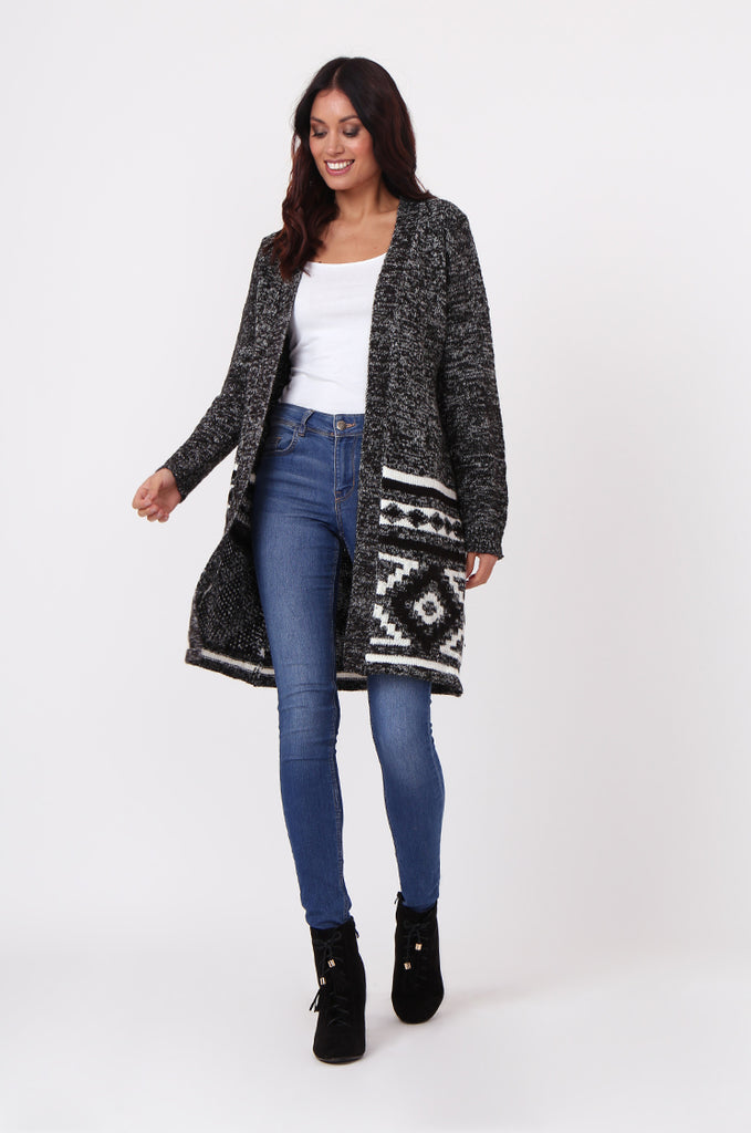 SF0448-BLACK LONGLINE AZTEC CARDIGAN view 2