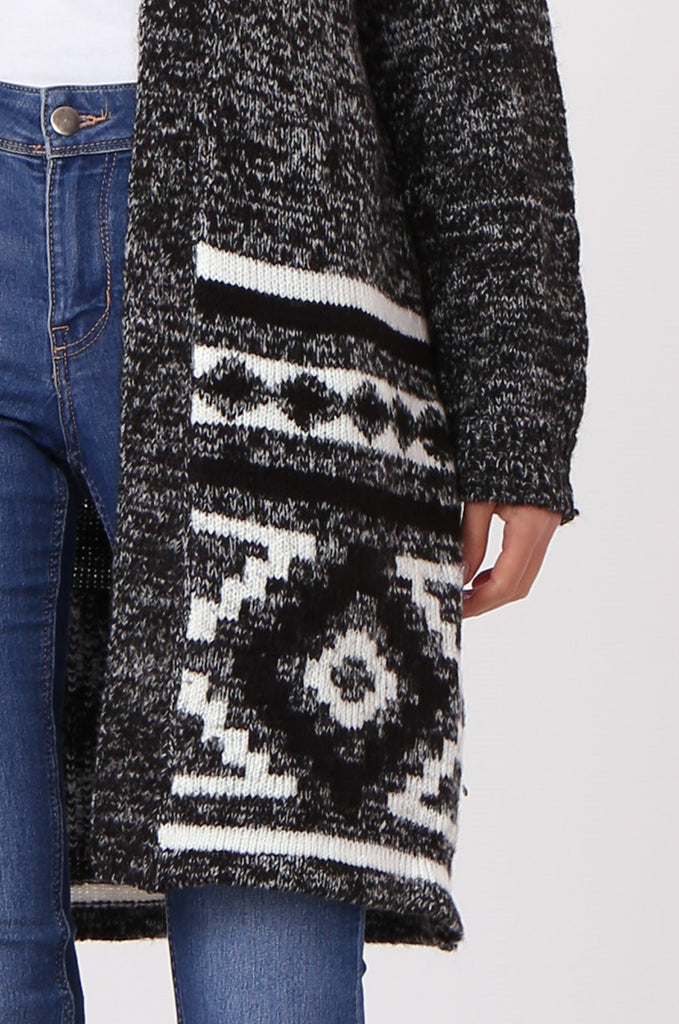 SF0448-BLACK LONGLINE AZTEC CARDIGAN view 5