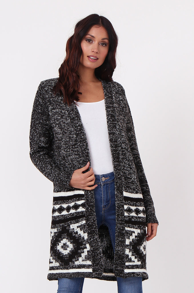 SF0448-BLACK LONGLINE AZTEC CARDIGAN view main view