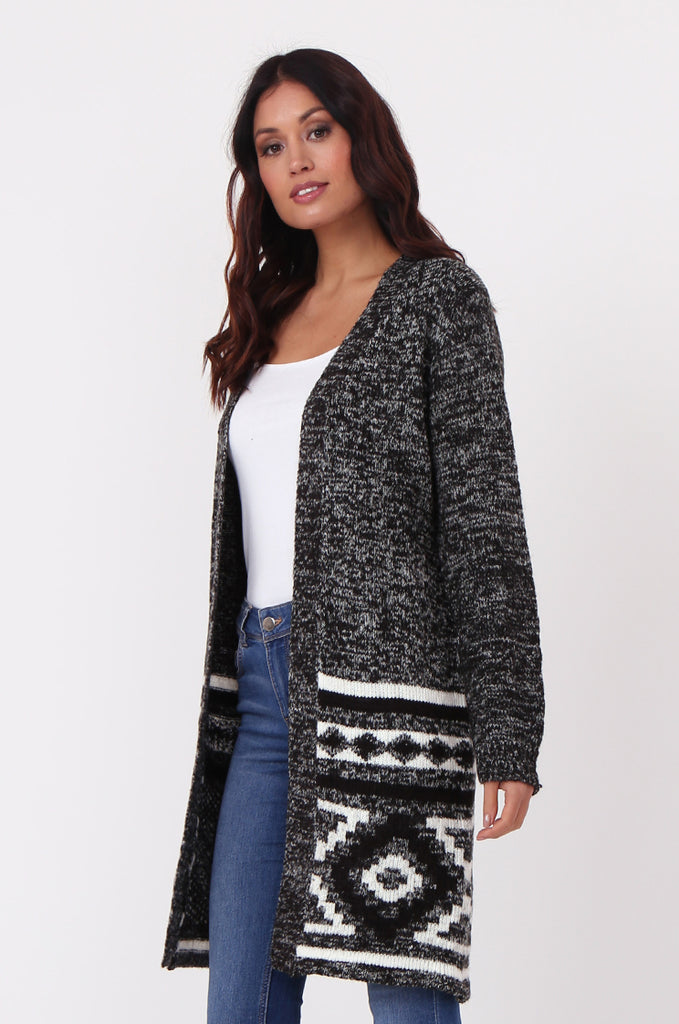 SF0448-BLACK LONGLINE AZTEC CARDIGAN view 3