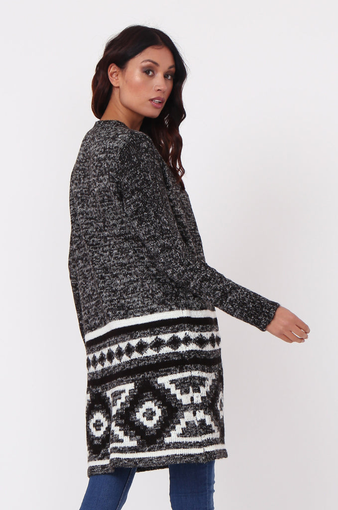 SF0448-BLACK LONGLINE AZTEC CARDIGAN view 4