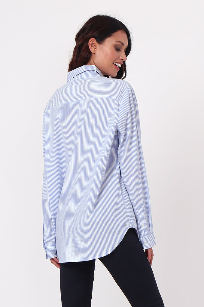 SF0450-BLUE STRIPE POCKET BLOUSE view 4