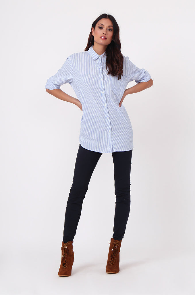 SF0450-BLUE STRIPE POCKET BLOUSE view 3